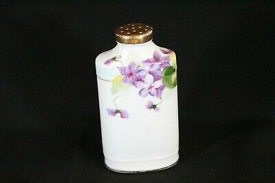 Antique Nippon Hand Painted Purple Flowers Gold Gilt Top Shaker