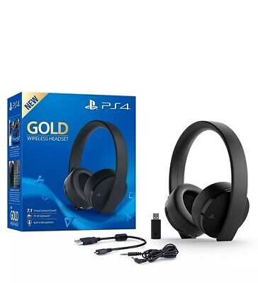 Sony Wireless Headset PlayStation 4 Gold Gaming PS4 Kopfhörer schwarz wie neu