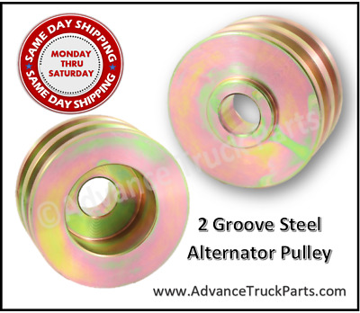 Steel Double Groove Alternator Pulley GM Delco Ford  Hot Rod