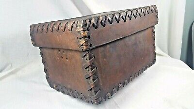 Vintage thick Leather box with top with side air holes, all sides thick laced
