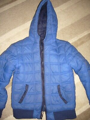 Carrement beau winter coat - reversible blue / navy padded designer coat