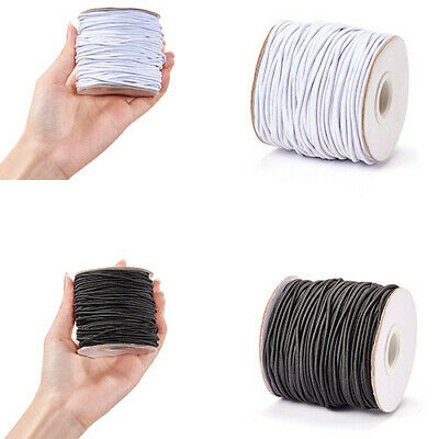 1Roll WHITE&BLACK Round Elastic Cord String Thread 1.2mm 2mm 3mm Jewelry Making