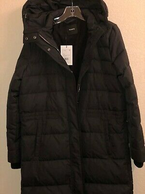 THEORY Womens Norine Hooded Down Puffer Coat size M black NWT