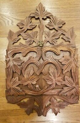 Antique Victorian Carved Wood Walnut Wall Pocket Magazine Rack Leaf Motif Hinged