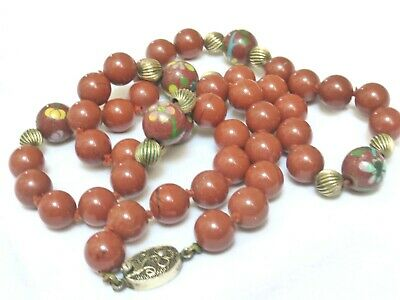 Chinese Vintage Cloisonne Red Jasper Beaded Necklace, Silver Clasp