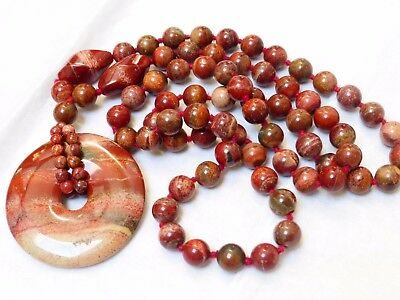 CHINESE VINTAGE Jasper BEADS NECKLACE PENDANT, no clasp