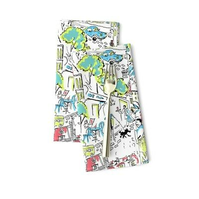 Paris Novelty 1950S Trees Retro Green Cotton Dinner Napkins by Roostery Set of 2