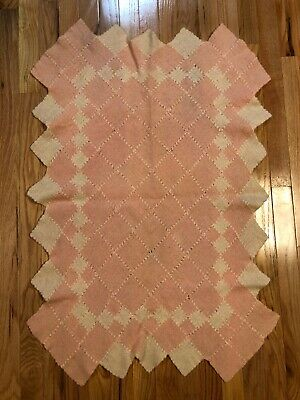 Antique Vintage Pink And Ivory Knitted Baby Blanket Homemade Diamond Shapes