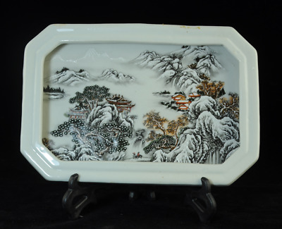 china old hand-made famille-rose porcelain Hand painted snowscape dish Bc01E