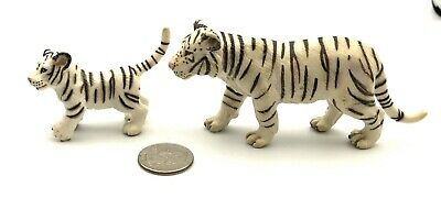 Schleich Lot of 2 WHITE TIGER & PLAYFUL CUB Wildlife Animal Figures Toy Retired