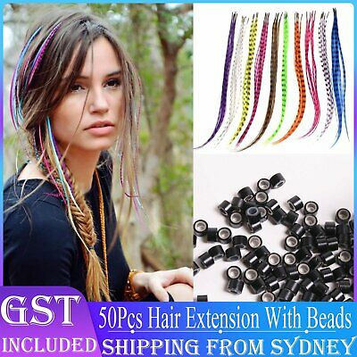50pcs Grizzly Synthetic Feather Straight Hair Extensions 40cm With 50 Beads Set