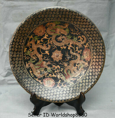 """15.2"""" Marked Old China Dynasty Palace Red Lacquerware Painting Dragon Plate Tray"""