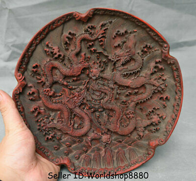 "9.6"" Qianlong Marked Old China Dynasty Red Lacquerware Carved Dragon Plate Tray"