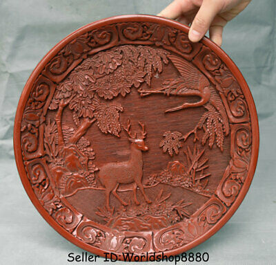 "12"" Qianlong Marked Old China Dynasty Red Lacquerware Deer Crane Bird Plate Tary"
