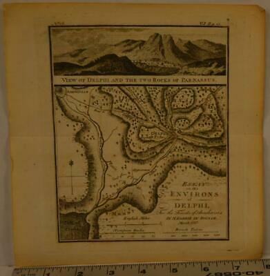 Antique Engraving of Ancient Greece Delphi 1795 8x8 Inches