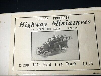 Jordan Products Highway Miniatures HO HOn3 C-208 1915 Ford Fire Truck Kit NOS!