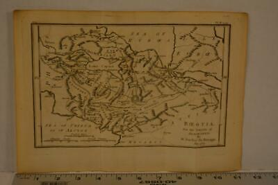 Antique Engraving Map of Ancient Greece Boeotia 1795 11x8 Inches