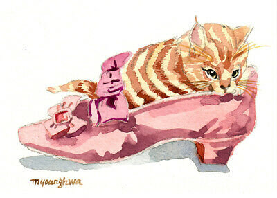 ACEO ORIGINALwatercolor, Puss'n shoe, Gift for cat lovers, Cute animal