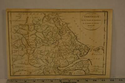 Antique Engraving Map of Ancient Greece Thessaly Printed 1795 12x8 Inches