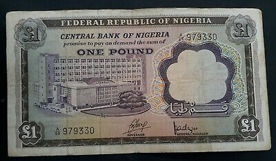 1968 Central Bank of Nigeria £1 Banknote P 12a F
