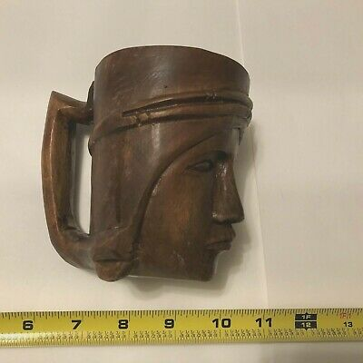 Vintage Hand Carved Woman wood drink cup  Folk Art Souvenir  preowned