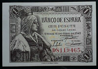 RARE 1945 Bank of Spain One Peseta Banknote P128a UNC