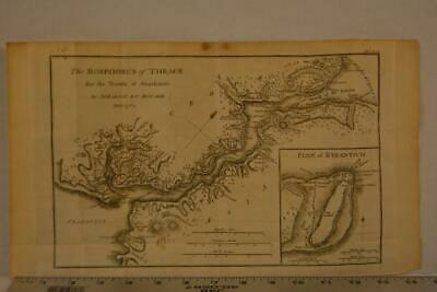 Antique Engraving Map of Ancient Byzantium Greece Printed 1795 15x8 Inches