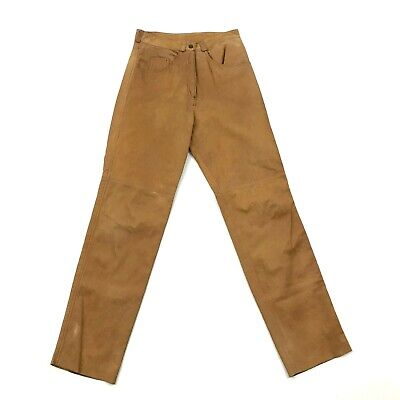 VINTAGE Amati High Waist Leather Pants Size S / M Cowhide 30 Inseam SKIN TIGHT