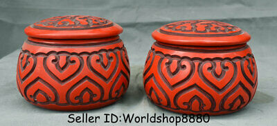 "4.8"" Qianlong Marked Old China Red Lacquerware Dynasty Flower Pot Jar Crock Pair"