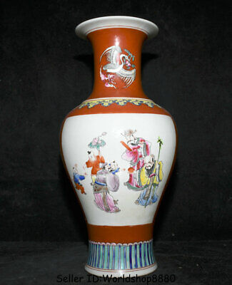 "15.6"" Jiaqing Marked Old China Famille Rose Porcelain Fu Lu Shou God Bottle Vase"