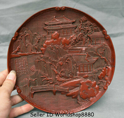 "9.2"" Qianlong Marked Old China Qing Dynasty Red Lacquerware landscape Plate Tary"