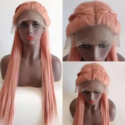 AU 24inch Synthetic Lace front wigs Natural Straight Smoke Pink Women