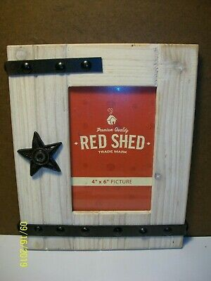 """Red Shed 4"""" x 6"""" Picture Frame - Rustic / Primitive / Western"""