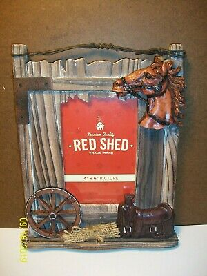 """Red Shed 4"""" x 6"""" Picture Frame - Rustic / Primitive / Western / Barn Scene"""