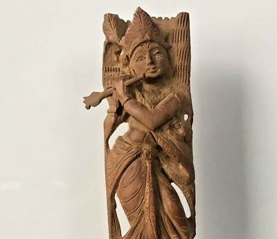 Vintage HandMade Sandalwood Carved Wooden Figurine Hindu God Krishna with flute
