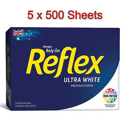 Reflex A4 Copy Paper 500 x 5 Packs (2500 sheets) 80gsm Photocopy Ultra White