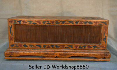 """18.4"""" Antique Old China Wood Lacquerware Painting Dynasty Palace Dragon Seal Box"""