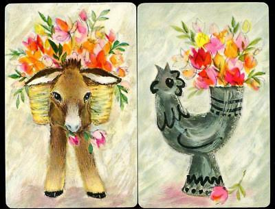 Swap Cards With Donkey And Flowers And Chicken With Flowers New