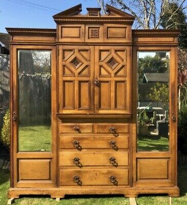 Lovely Antique Victorian Satinwood Compactum Wardrobe, C1900