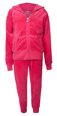 Love Lola Childrens Girls Velour Cuff Tracksuit Raspberry Age 9/10 Brand New