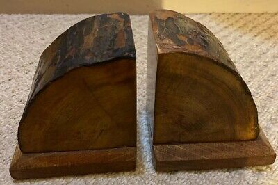Vintage Art Deco Oak Antique Wood Quarter Trunk Log Cut Natural Bookends