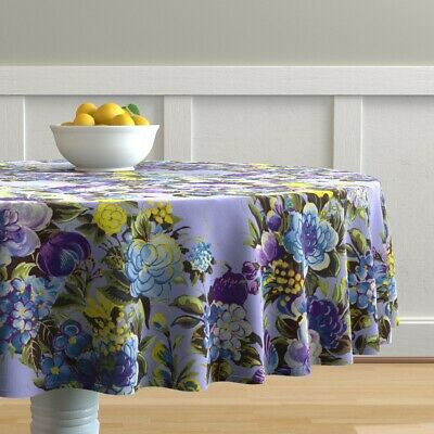 Round Tablecloth Regency Mid Century Retro Floral Flowers Tropical Cotton Sateen