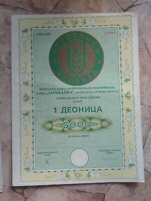 1991 Yugoslavia Serbia Bonds Stocks Shares Shareholder Bank Agrobanka Coupon