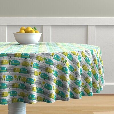 Round Tablecloth Retro Camper Mid Century Style Travel Summer Cotton Sateen