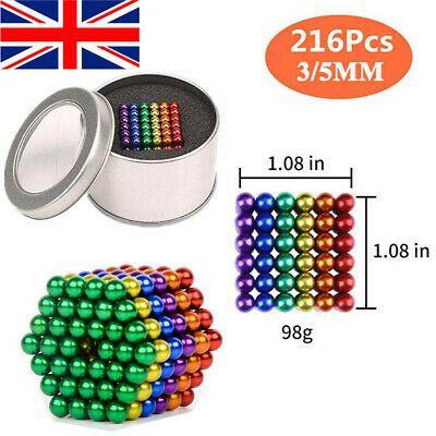 5mm Magnetic Ball 216 Neodymium Bead Magnets Puzzle Cube Stress Relief Sphere UK