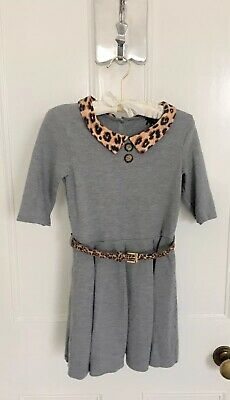 Girls Next A-Line Dress In Grey With Leopard Collar & Belt Age 9