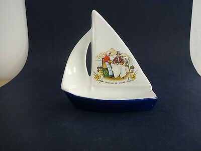China Model of a Sailing Boat/ Dinghy - Souvenir of Wales - Height approx 14cm