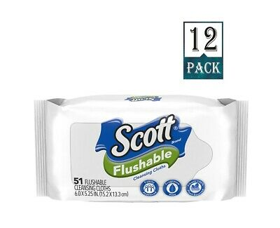 Scott Flushable Cleansing Cloths, 51 ct Wipes (Pack of 12)