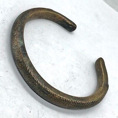Ancient Viking Style Brass Bracelet Artifact Old Antiquity European Norse Find M