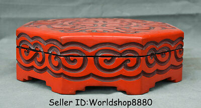 "10"" Qianlong Marked Old China Red Lacquerware Dynasty Palace Flower Jewelry box"